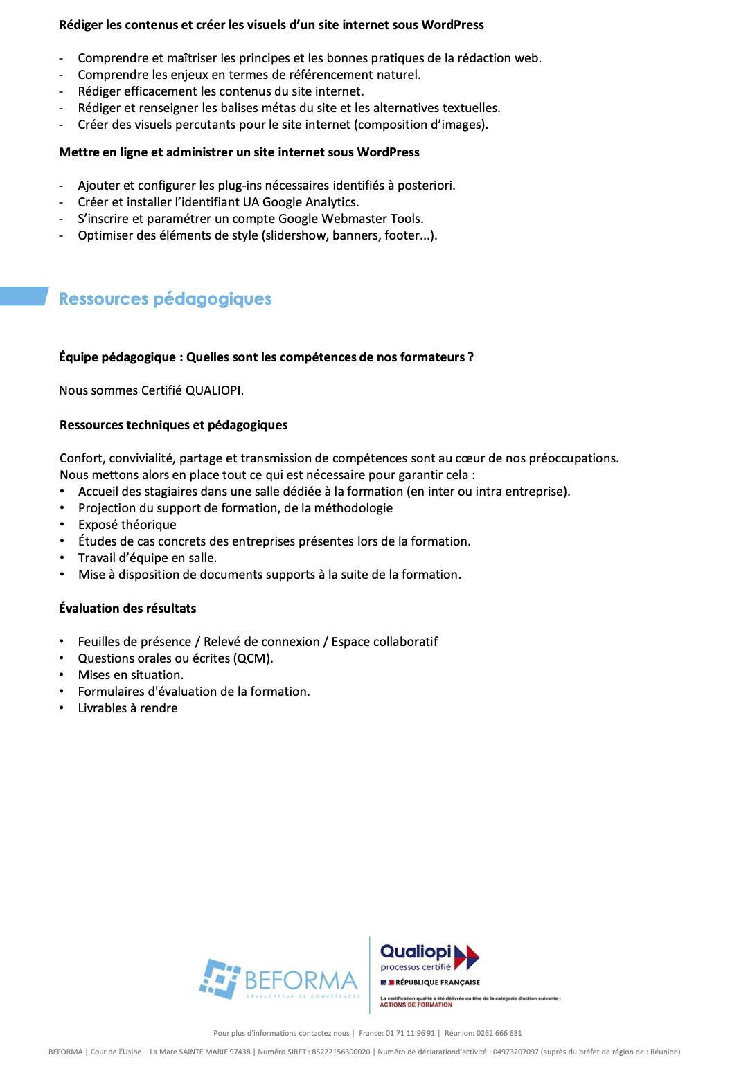 Programme site internet wordpress et ecommerce 2